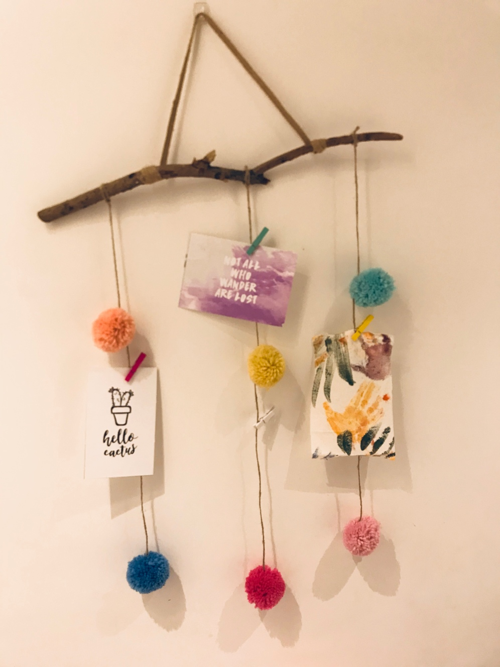5. Add your coloured pegs and hang on the wall and add your pictures, crafts and inspirations!