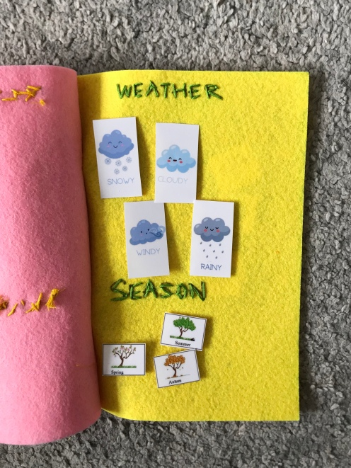 14. Create your categories - weather and seasons on page 4